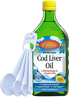 Carlson Cod Liver Oil Wild Norwegian 1,100 mg Omega 3 Plus Vitamins A & D, 16.9 fl oz Bundle with Lumintrail Measuring Spoons