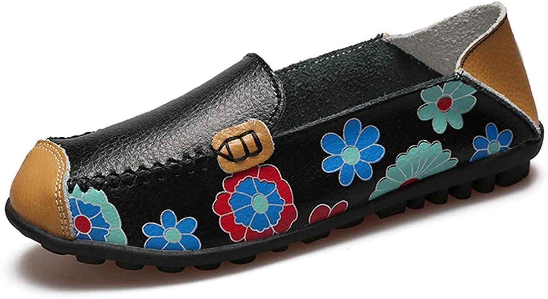 T-JULY Women Flat shoes Ballet Summer Flower Print shoes Genuine Leathe Loafers Ladies Flats shoes
