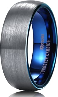 Duo Unisex 5mm 6mm 7mm 8mm Classic Black Rose Gold/Blue Domed Tungsten Carbide Wedding Band Ring Comfort Fit