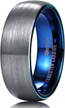 King Will Duo Unisex 5mm 6mm 7mm 8mm Classic Black Rose Gold/Blue Domed Tungsten Carbide Wedding Band Ring Comfort Fit