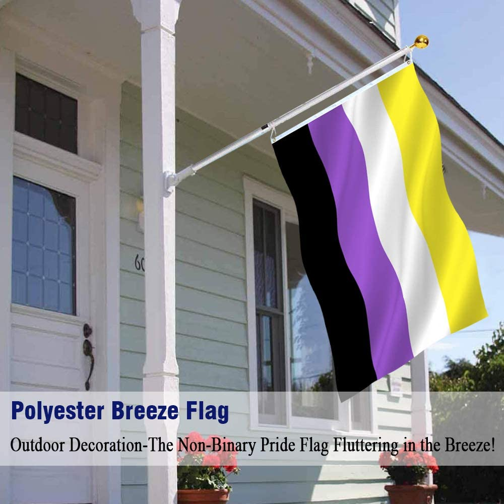 NB Pride Genderqueer Gender Identity Flags Polyester with Brass Grommets Disheen Non-Binary Pride Flag 3x5 Feet Outdoor Vivid Color /& Fade Proof Pride Flag