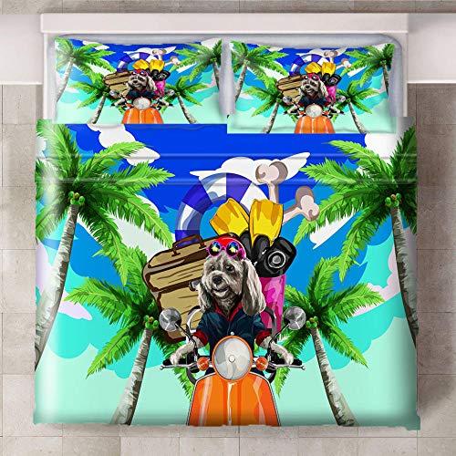 Teqoasiy - Funda Nórdica De Edredón King Size - 3D Dibujos Animados Animal Perro Bicicleta 240x220cm Funda Nórdica De Tres Piezas - De Ropa De Cama Con 2 Fundas De Almohada King - Chico Niña Cuarto De