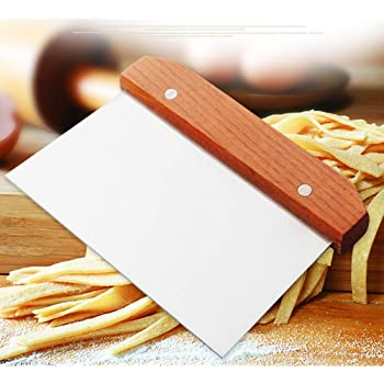 Dough Scraper, Stainless Steel Dough Divider Chopper Bread Scraper Cake Pastry Pizza Cutter Slicer with Wood Handle, 5 x 4.5-inch