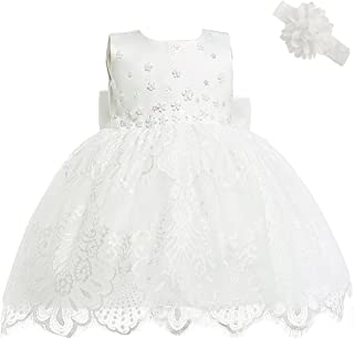 Baby Girl Newborn 3D Flower Party Floral Dresses Pagent Lace Dress Gown for Baby Girls