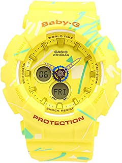 Casio Baby-G BA-120SC-9A Yellow Pop Graffiti Analog Digital Women's Sports Watch