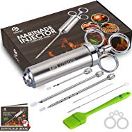 Ofargo Stainless Steel Meat... Ofargo Stainless Steel Meat Injector Syringe with 3 Marinade Injector Needles for BBQ Grill...