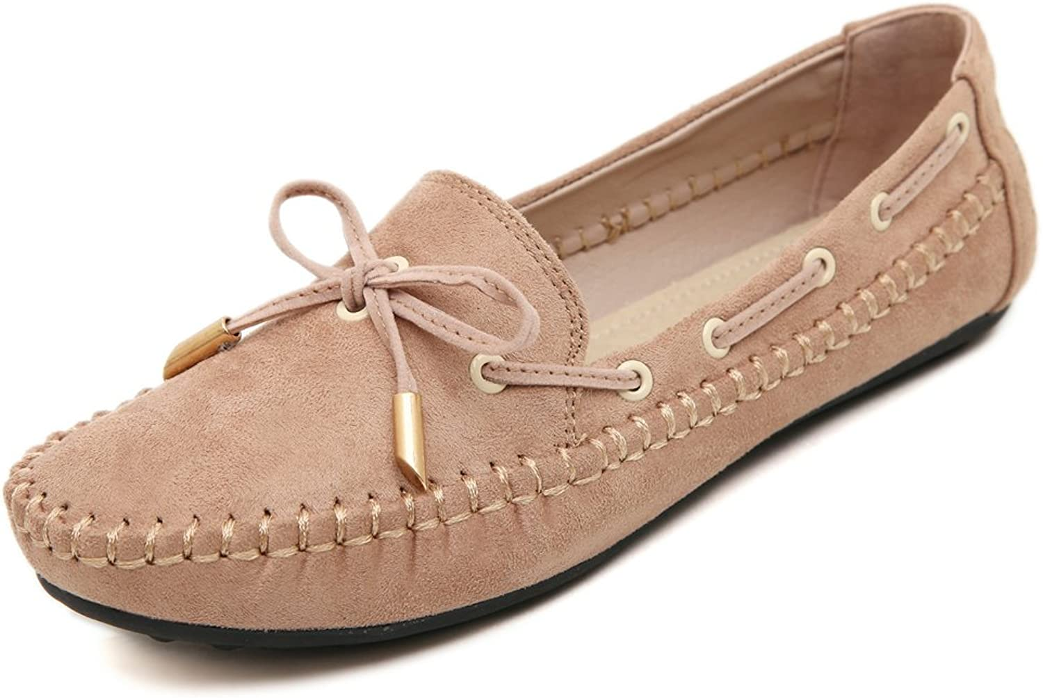 Adelina Women's Comfort Laced Boat Loafer shoes Driving Moccasin Apricot 41 EU   9.5-10 US