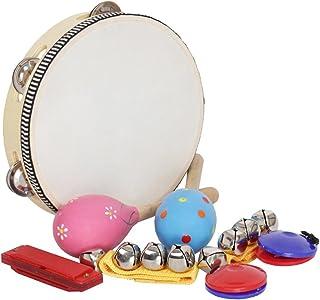 مجموعة ألعاب موسيقية من 8 قطع من Honelife معدات إيقاع الفرقة بما في ذلك الدف ماراكاس Castanets Handbells Harmonica للأطفال...