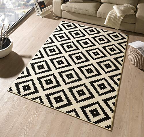 Hanse Home Velours Teppich Raute Schwarz Creme, 80x150 cm