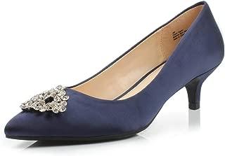 Dunion Brink Women's Fashion Elegant Comfortable Classic Pointed Toe Kitten Heel Dress Party Wedding Pump