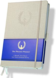 $29 » The Phoenix Planner - Best Daily Calendar and Agenda for Goal Setting, Boost Happiness and Productivity - Gratitude Journal, Habit Tracker, Quarterly Business Planner - 6 Months, Undated (Ivory)