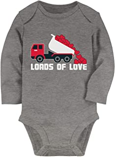 First Valentine's Day Dump Truck Loads of Love Baby Long Sleeve Bodysuit