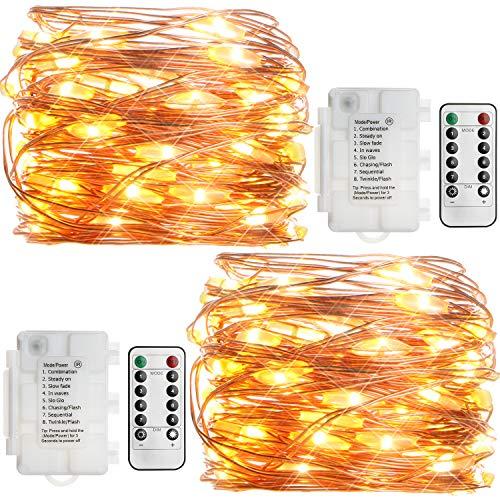 KooPower 2 Stk 50er LED Lichterkette Batterie mit Fernbedienung & Timer, 8 Modi IP65 Wasserdicht Kupferdraht, für Weihnacht,Hochzeit,Party,Garten