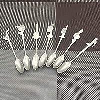 home wang 7 pezzi di caffè creativo cucchiaino simbolo musicale manico lungo cucchiaio in acciaio inox strumento per bere utensili da cucina gadget da tavola