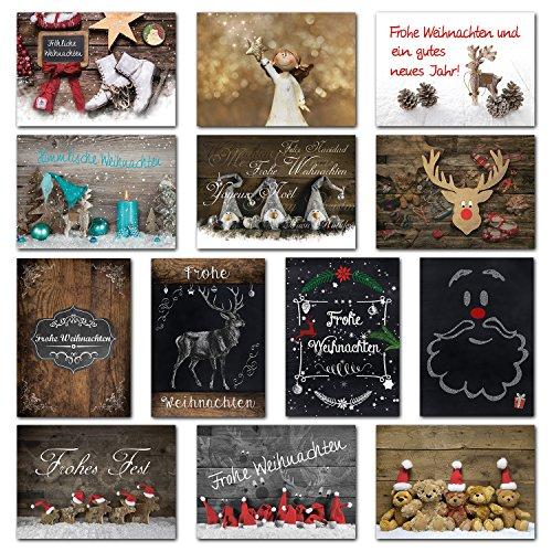 Logbuch-Verlag Weihnachtskarten SET 26 Weihnachtspostkarten 10,5 x 14,8 cm rot braun natur Wichtel Rentier Hirsch Weihnachten Karten Text schwarz alt