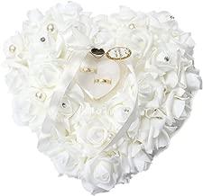 Wedding Ring Pillow, White Ring Pillow Lace Crystal Rose Wedding Heart Ring Box Ring Holder