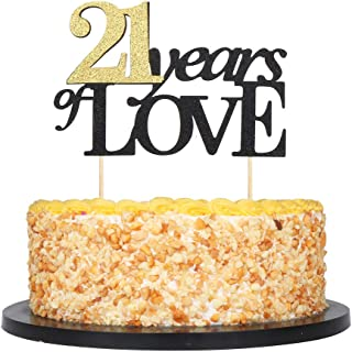 QIYNAO Happy Birthday Cake Topper Black Typeface Years of Love Gold Numeral 21,Wedding,Anniversary,Birthday,Party Party Cake Decorations (21th)