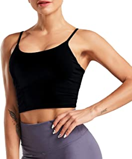 Womens Sports Bras Comfy Padded Yoga Crop Top Running Workout Camisole Tank Tops