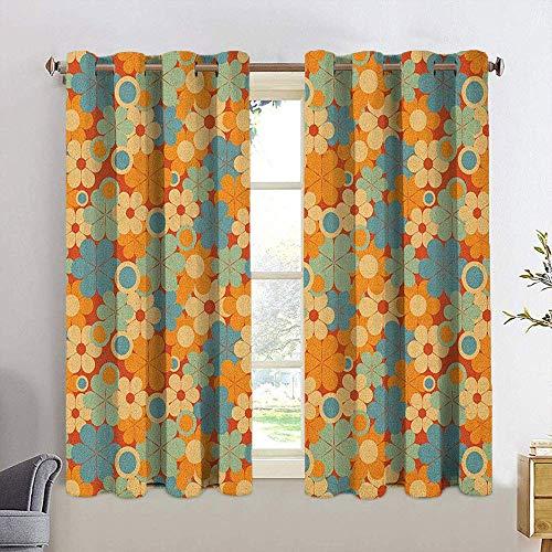N / A Home Decoration Wärmeisolierte Vorhänge Erdtöne Blau Orange Beige Verdunkelungsvorhänge für Schlafzimmer...