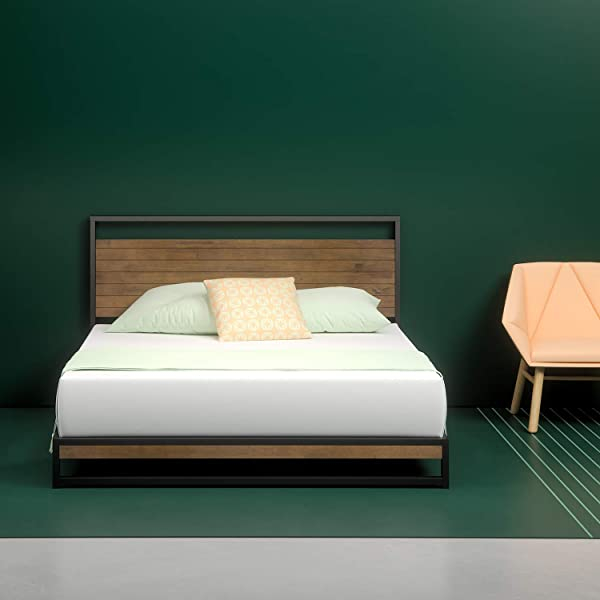 Zinus Ironline Metal And Wood Platform Bed With Headboard Box Spring Optional Wood Slat Support Full Renewed