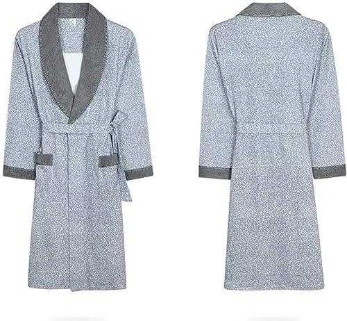 WLG Pyjama Confortable pour la Maison Shop Coton avec Poches Peignoir - Manches Longues Hommes Printemps et été Chemise de Nuit en Coton Robes Pyjamas Peignoir Homme 'S and femmes' S VêteHommests d'in
