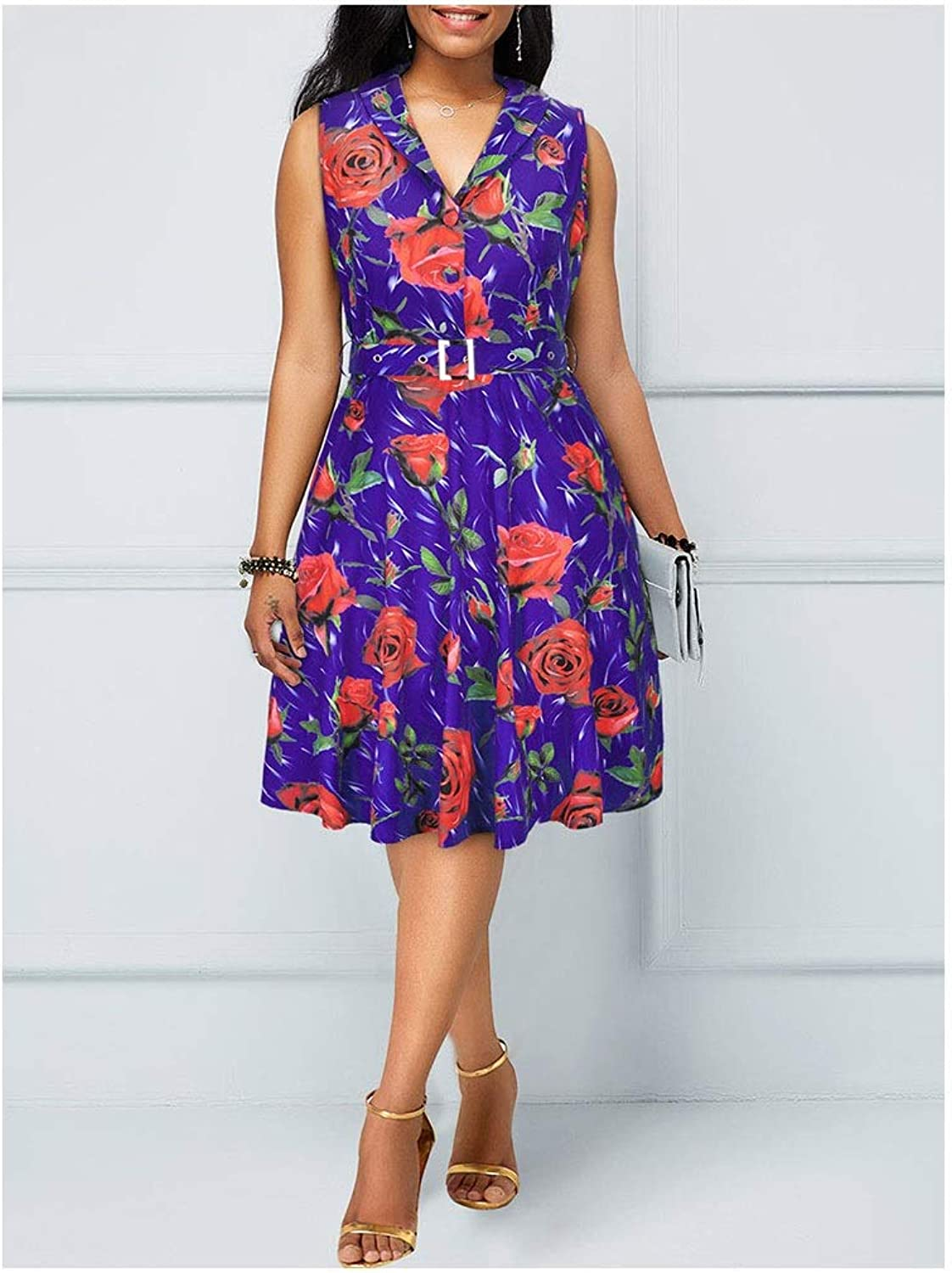 CARRY Dress, European and American Comfortable Soft Cocktail Dress Sleeveless Printed VNeck Dress (color   color1, Size   M)