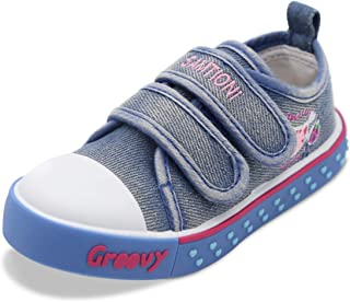 Toddler Girl Sneakers for Baby Girls Double Velcro Anti-Slip Sneakers Distressed Denim Canvas Shoes