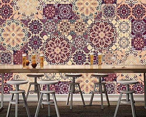 XHXI Muster geometrische Retro Vlies Tapete 3D Tapete Wanddekoration Wandbilder Wohnzimmer fototapete 3d Tapete effekt Vlies wandbild Schlafzimmer-400cm×280cm