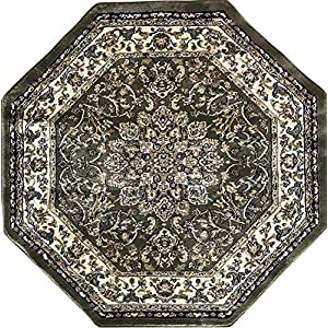 Traditional Octagon Persian 330,000 Point Area Rug Green Black & Beige Design 603 (4 Feet X 4 Feet)