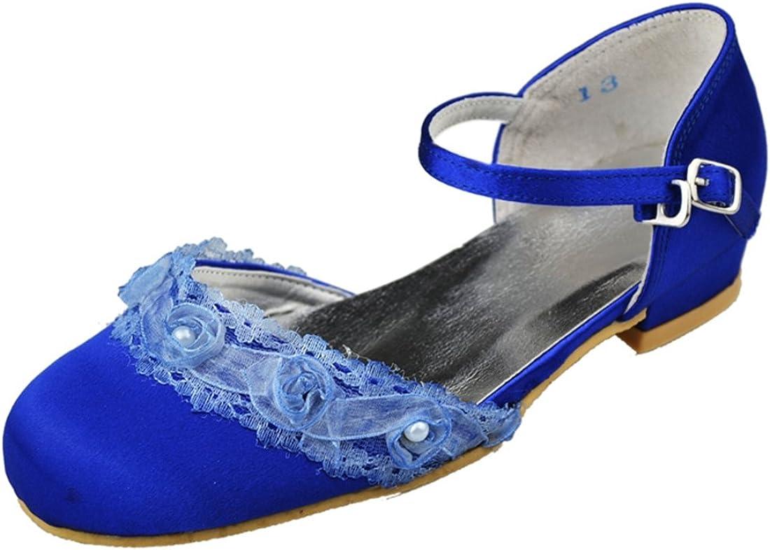 Minishion YFG030 Kids Big Children Closed Toe Blue Satin Party School Life Wedding Shoes Flower Pumps for Girl US 2