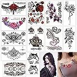Temporäre Tattoos Frauen Wasserdicht Temporäre Tätowierung Blumen Gefälschte Tätowierungen Body