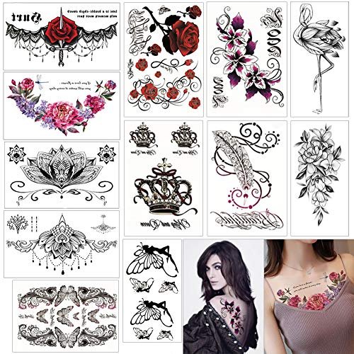 Temporäre Tattoos Frauen Wasserdicht Gefälschte Tätowierungen Body Art Temporäre Tätowierung Blumen-12 Pcs