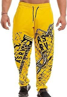 Men Athletic Running Pants Jogging Print Sweatpants Tapered Leg Pants