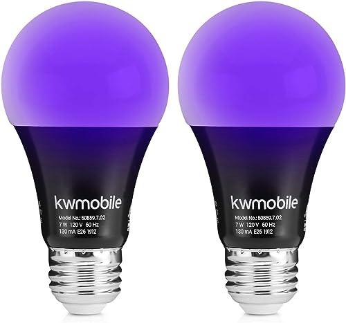 kwmobile Black Light Bulbs E26 - LED Ultraviolet Blacklight UV Bulb - Glow in the Dark Ultra Violet Neon Fluorescent ...