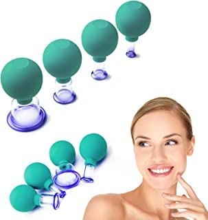 4 Pcs Facial Glass Cupping Set - Vacuum Suction Cupping Cups, 4 Colors to Select, Perfect For Cupping Massage, Lymphatic D...