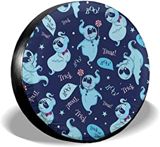 All agree Universal Spare Tire Cover Halloween Friendly Ghosts,Boo!Trick Treat Car RV Camper Wheel Tyre Covers Protectors for Trailer,SUV,Travel,Truck,Boat,Motorhome,Vehicle,Waterproof