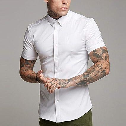 CSDM Camisa de Hombre Elegante Camisa Blanca Lisa Hombres ...
