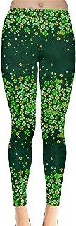 Womens Green Shamrock St Patricks Day Clover Leaves Leprechauns Leggings, XS-5XL