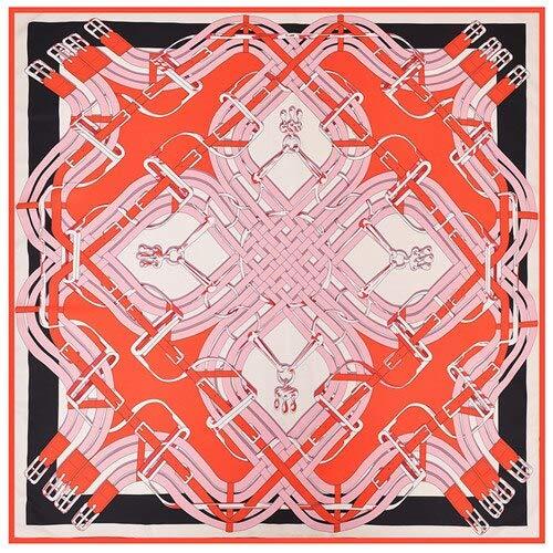 YDMZMS Pañuelo 100% de Seda Bufanda con Estampado de Cadena Pañuelos y Bufandas para Mujer Bufandas cuadradas Hijab Grandes Pañuelo de SedaNegro