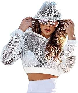 RARITYUS Womens Girls Fishnet Long Sleeves See Through Hooded Shirt Sexy Mesh Transparent Short Coat Crop Top