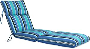 "Comfort Classics Inc. 22W x 72L x 5H Hinge at 26"" Sunbrella Outdoor CHANNELED CHAISE CUSHION in Dolce Oasis Made in USA."