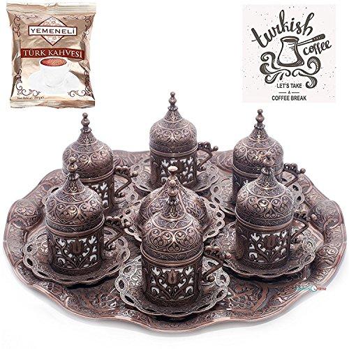 Osmanische Kaffeetasse mit Untertasse (6 Stück) (kubbeli) (kupfer)