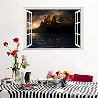 Cjzyy 3D Wall Stickers for Kids Room,Removable Wall Sticker Wall Mural Door Stickers Halloween Magic Castle Window Home Decor Living Harry Potter Landscape Decals PVC Mural Art DIY Poster