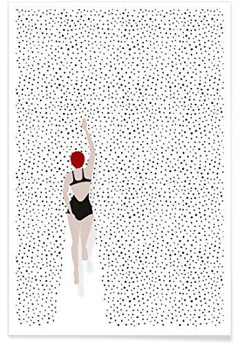 """JUNIQE® Schwimmen Schwarz & Weiß Poster 30x45cm - Design """"Punktschwimmer"""" entworfen von Amy & Kurt"""