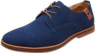 a4606a48 riou Zapatos Casuales de Hombre con Cordones Zapatos de Negocios Zapatos  Oxford Moda Cuero Sólido Sneakers