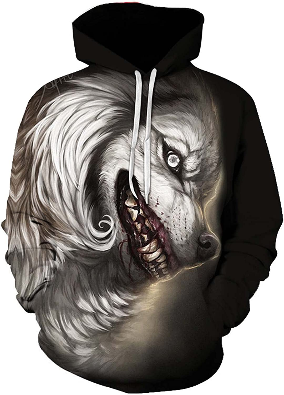 Bravetoshop Men's 3D Printing Hoodie Colorful Novelty Graphic Long Sleeve Pullover Hooded Sweatshirt
