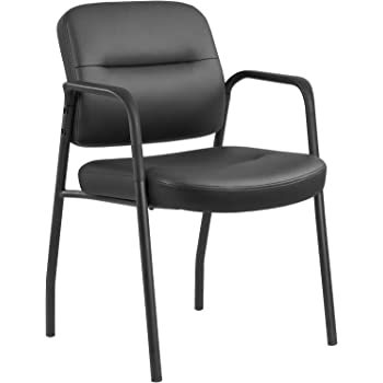 JUMMICO Office Guest Chair Leather Executive Side Chair Reception Chair with Frame Finish Ergonomic Lumbar Support (Black)
