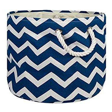 DII Collapsible Polyester Storage Basket or Bin with Durable Cotton Handles, Home Organizer Solution for Office, Bedroom, Closet, Toys, Laundry(Large Round – 15x16), Navy Chevron