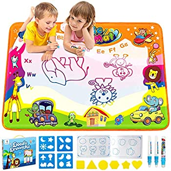 Betheaces Water Drawing Mat Aqua Magic Doodle Kids Toys Mess Free Coloring Painting Educational Writing Mats Xmas Gift for Toddlers Boys Girls Age of 3,4,5,6,7 Year Old 34.5  X 22.5  in 6 Colors