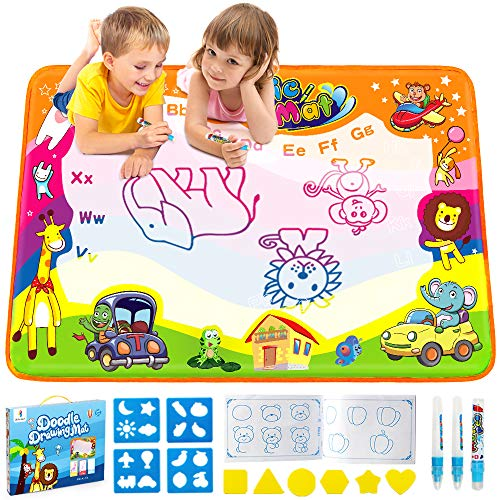 Betheaces Water Drawing Mat Aqua Magic Doodle Kids Toys Mess Free Coloring Painting Educational Writing Mats Xmas Gift for Toddlers Boys Girls Age of 3,4,5,6,7 Year Old 34.5